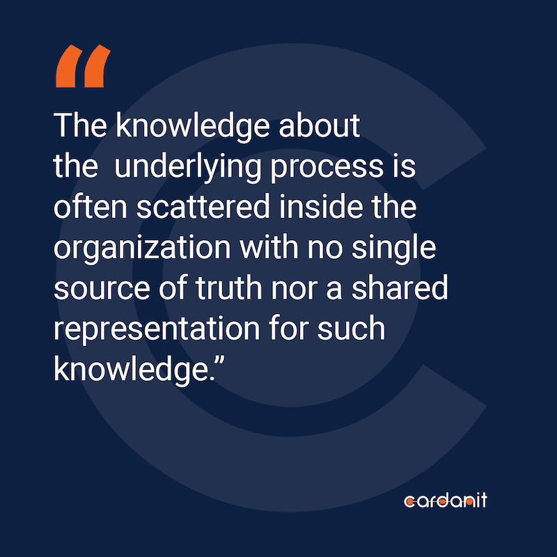 The knowledge about the underlying process is often scattered inside the organization with no single                 source of truth nor a shared representation for such knowledge.
